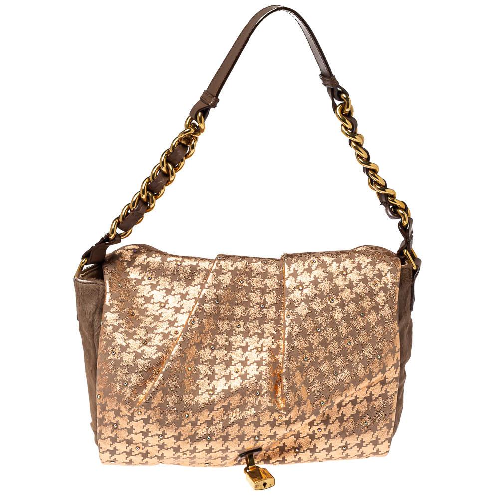 Marc Jacobs Light Pink/Brown Leather and Calf Hair Rockstar Jennifer Shoulder Bag