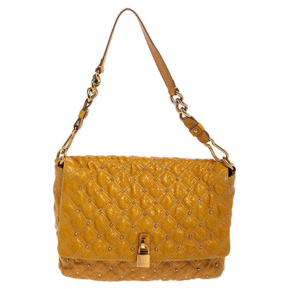 Marc Jacobs Yellow Python Embossed Leather Stardust Beat Shoulder Bag