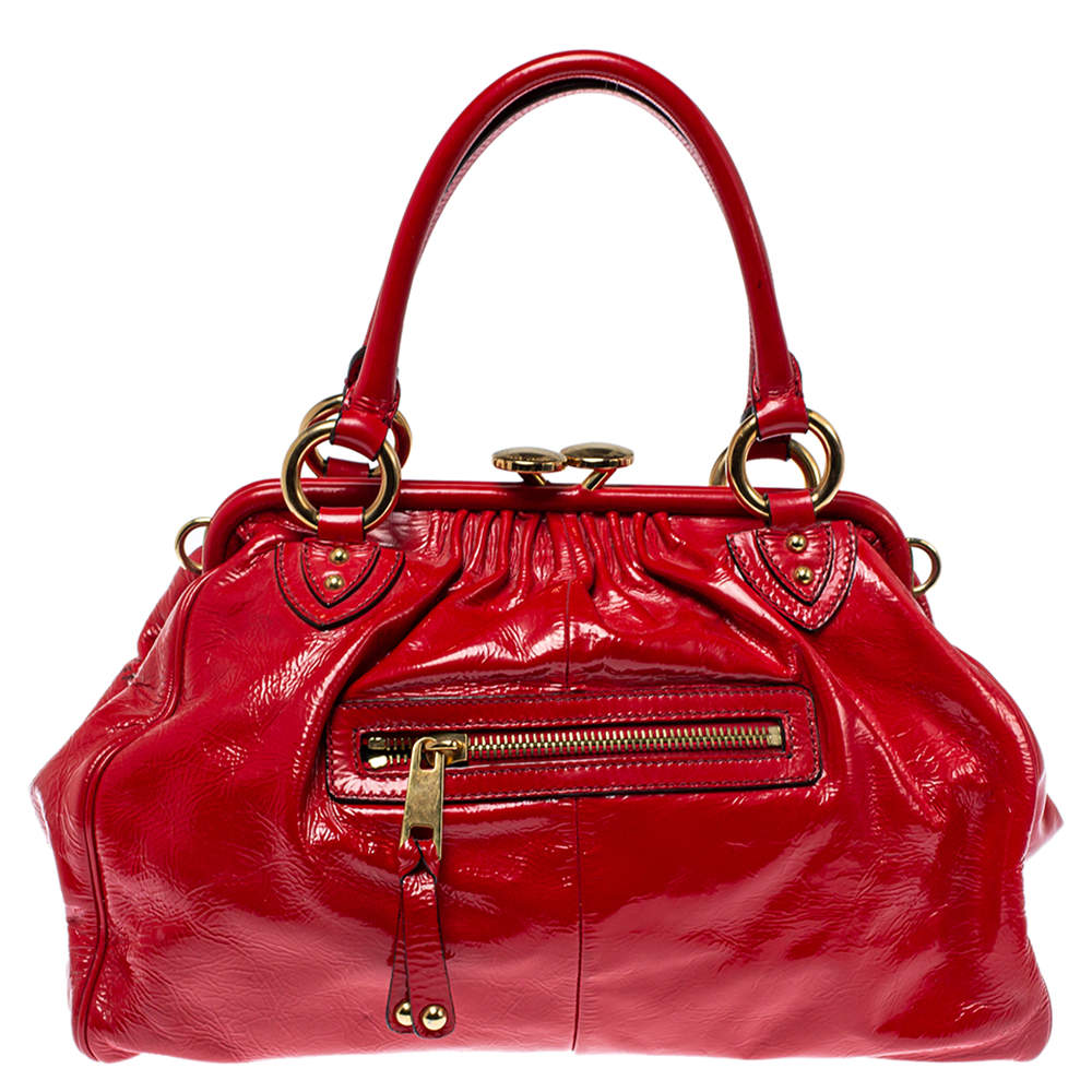 Marc Jacobs Red Patent Leather Stam Satchel