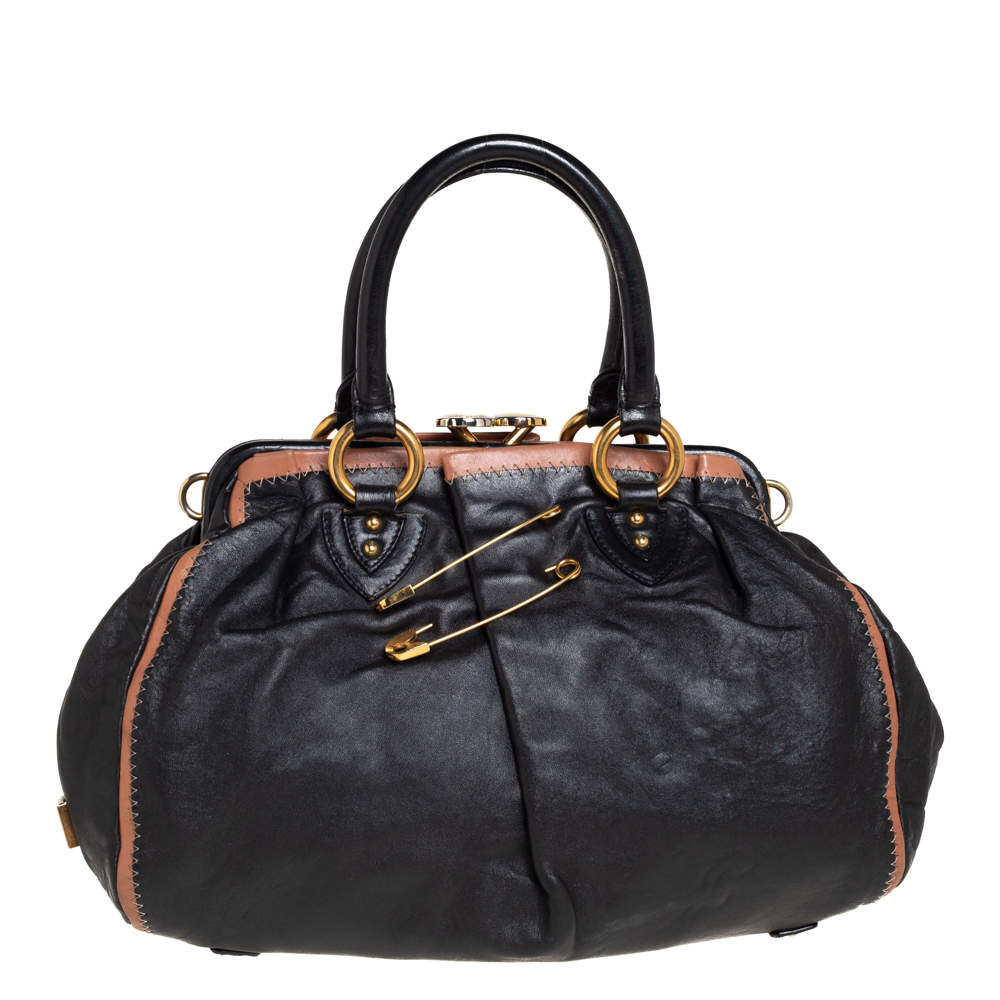 Marc Jacobs Black Leather Safety Pin Stam Top Handle Bag