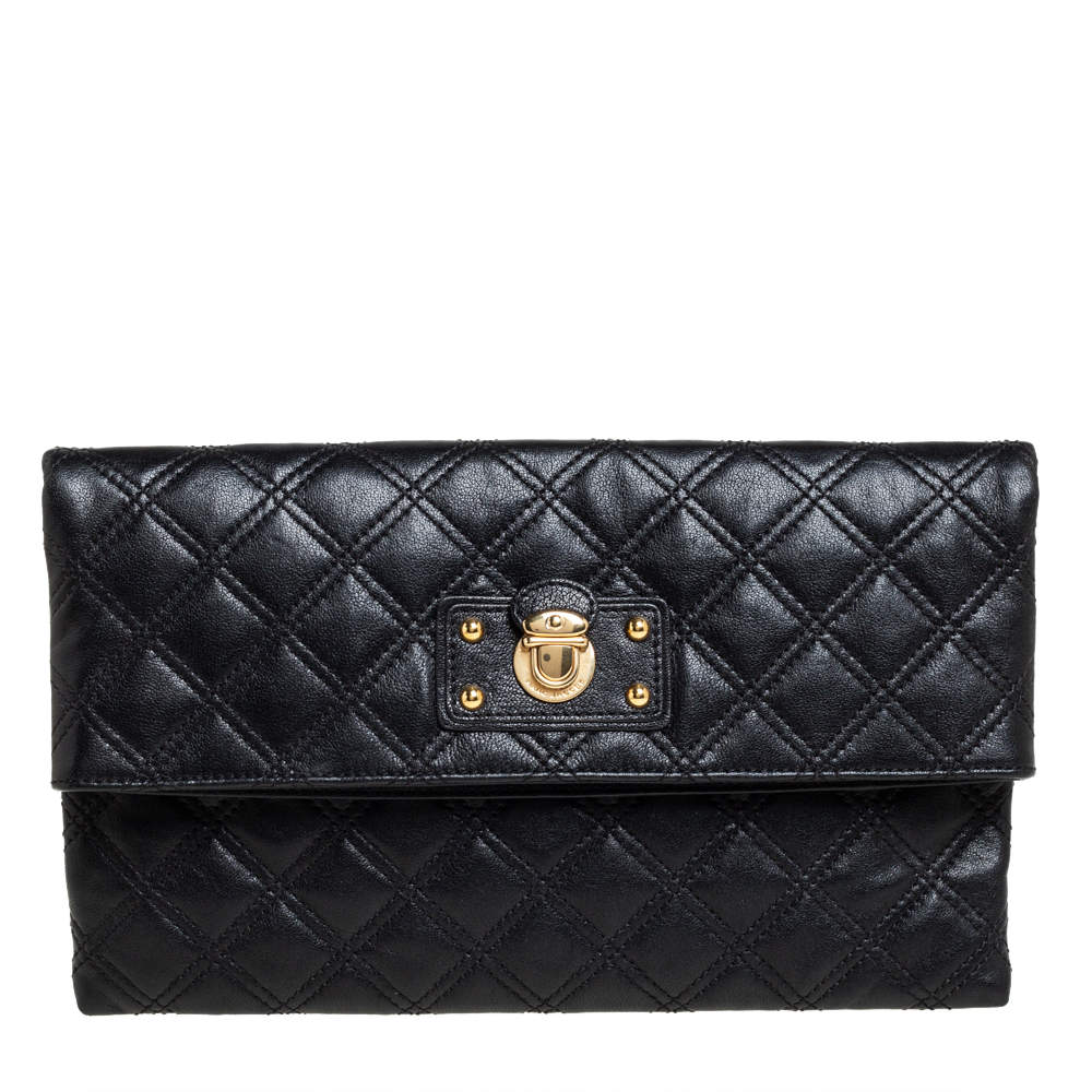 Marc Jacobs Black Quilted Leather Eugenie Clutch