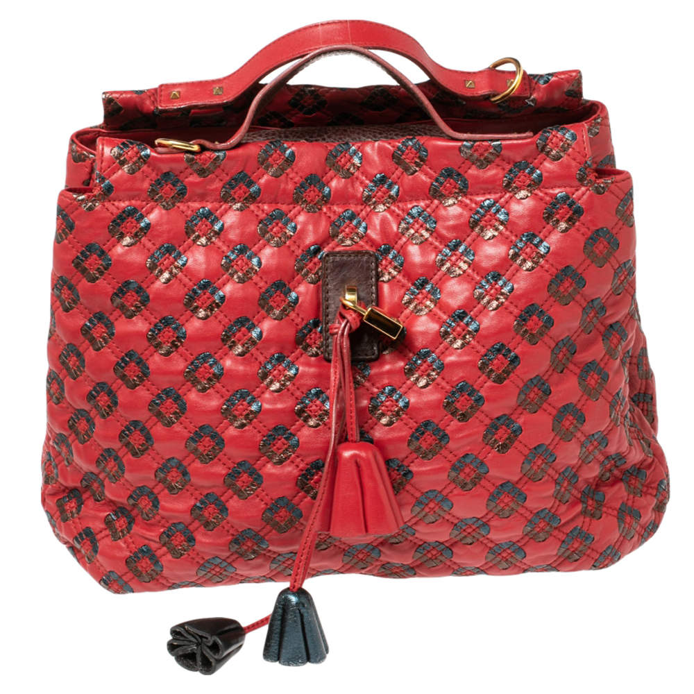Marc Jacobs Red/Metallic Quilted Leather Memphis Robert Jena Shoulder Bag