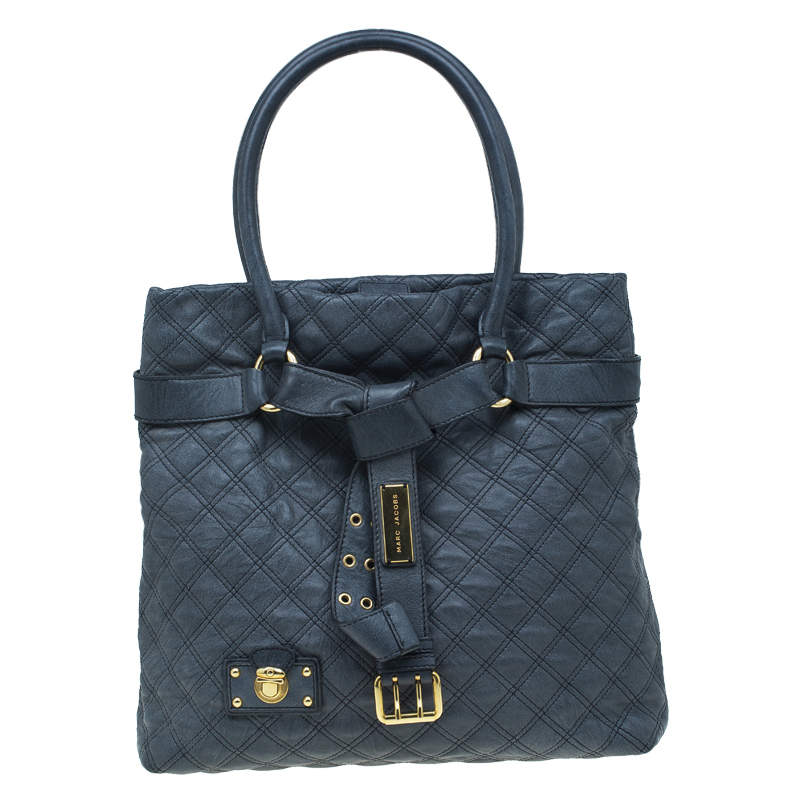 Marc Jacobs Dark Grey Quilted Leather Casey Double Stitch Tote