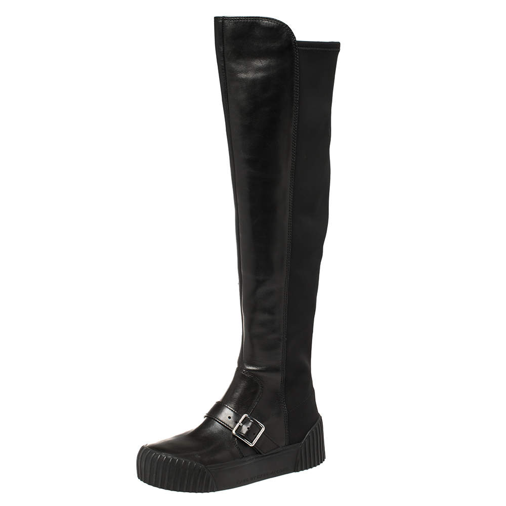 Marc Jacobs Black Leather and Neoprene Knee Length Boots Size 37