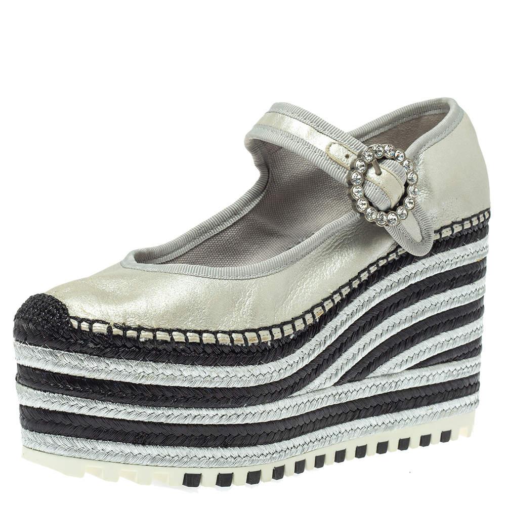 Marc Jacobs Metallic Silver Leather Crystal Embellished Suzi Mary Jane Platforms Espadrilles Size 38