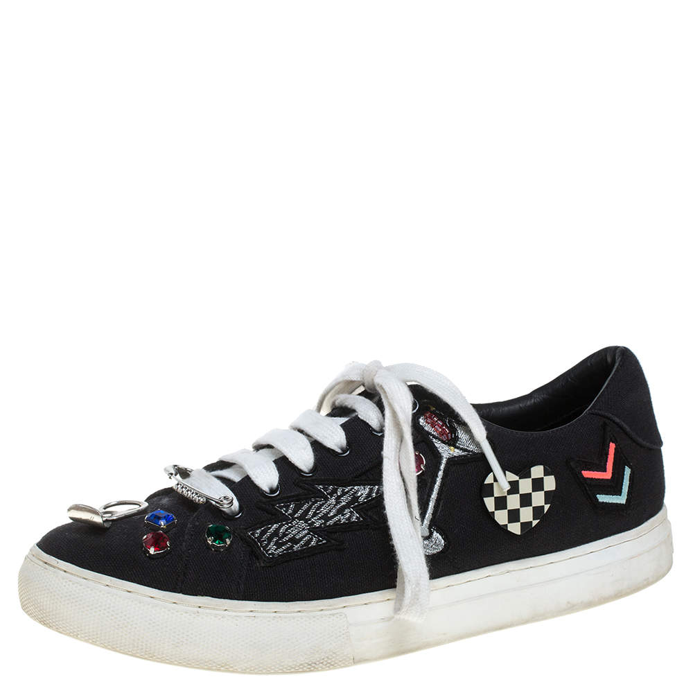 Marc Jacobs Black Canvas Patches And Embellished Low Top Sneakers Size 39
