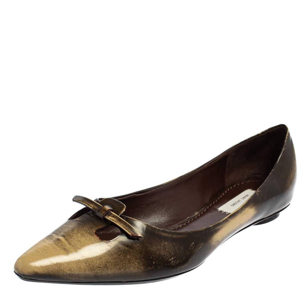 Marc Jacobs Two Tone Leather Bow Ballet Flats Size 38.5