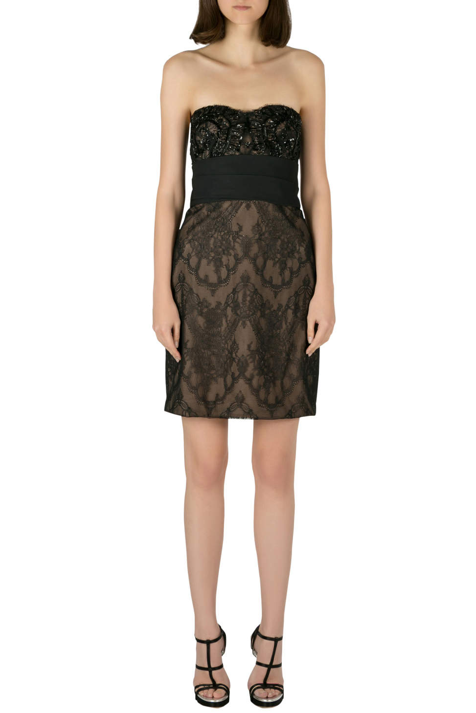 Marchesa Notte Black Chantilly Lace Embellished Bodice Strapless Pencil Dress S