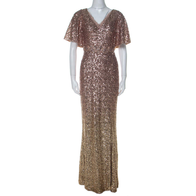 Marchesa Notte Blush & Gold Ombre Sequin Embellished Detail Gown S