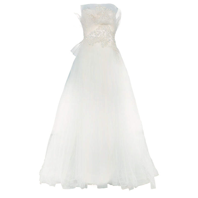Marchesa Ruffle Embellished Wedding Dress XS