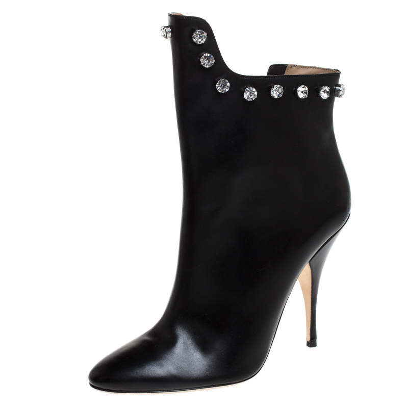 Marco De Vincenzo Black Leather And PVC Crystal Studded Trim Ankle Boots Size 41