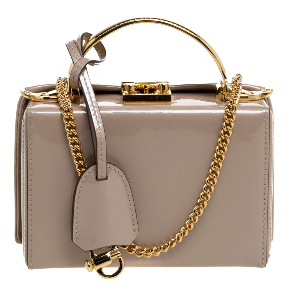 Mark Cross Beige Patent Leather Mini Grace Box Bag