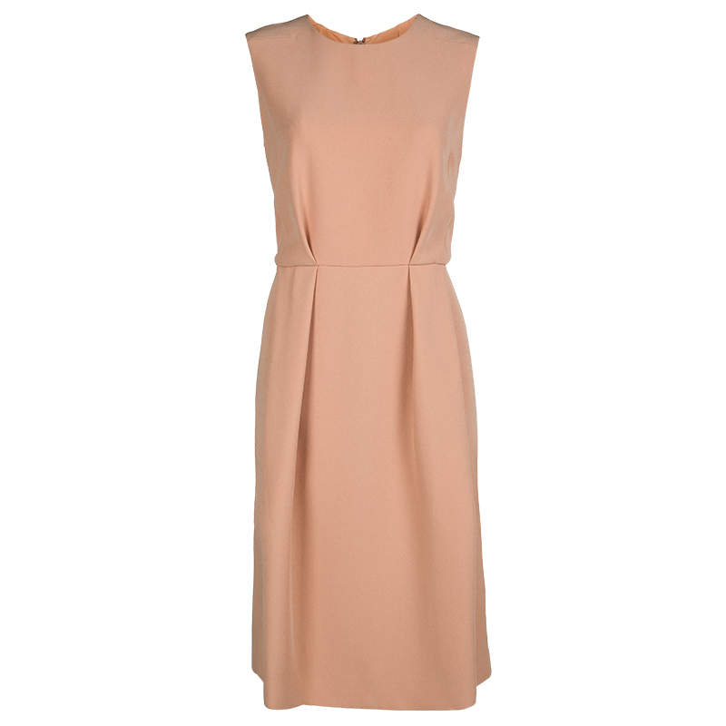 Marni Pale Orange Box Pleat Detail Sleeveless Dress M