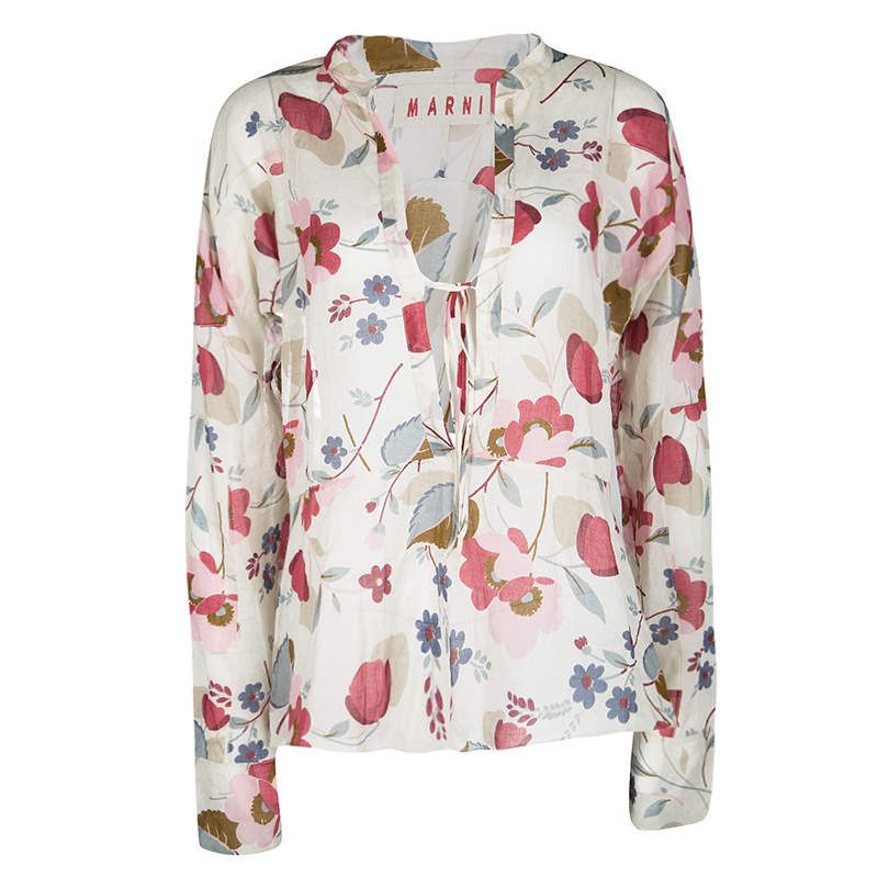 Marni Multicolor Floral Printed Cotton Long Sleeve Blouse S