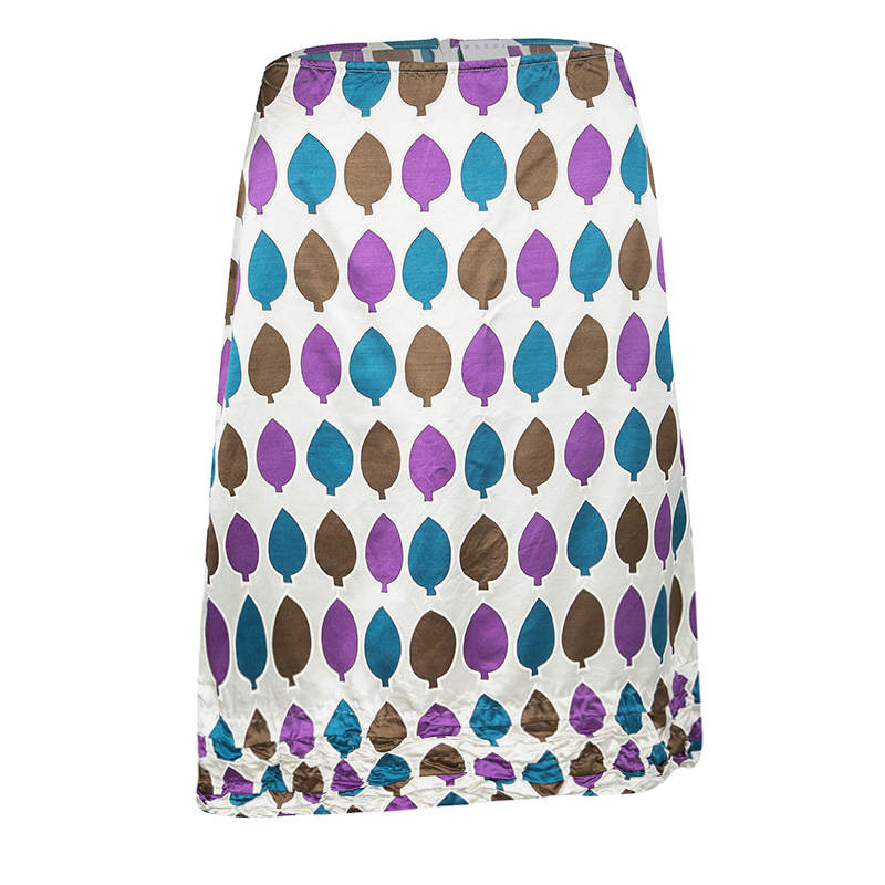 Marni Multicolor Leaf Print Ruched Hem Detail Satin Skirt S