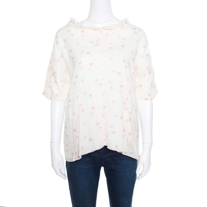 Marni Cream Floral Printed Cotton Dolman Sleeve Flared Top M