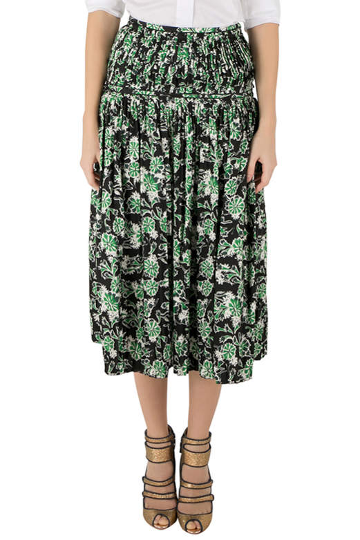 Marni Fern Green Floral Print Silk Pleated Midi Skirt S