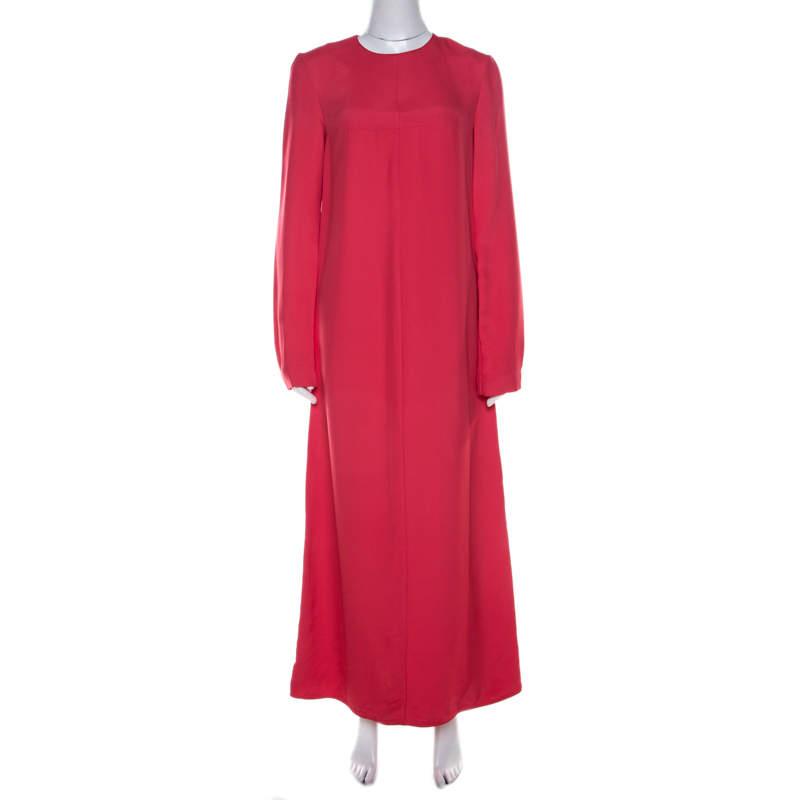 Marni Hot Pink Paneled Button Detail Long Sleeve Maxi Dress S