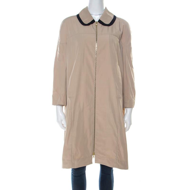 Marni Beige Peter Pan Collar Zip Front Jacket L