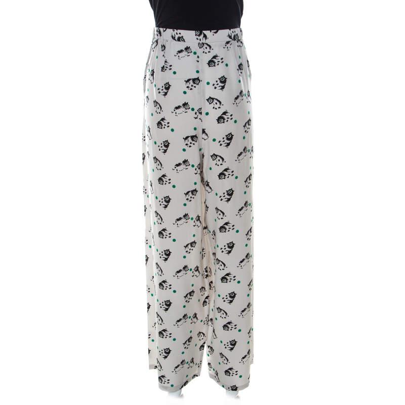 Marni Light Grey Printed Silk Wide Leg Trousers M