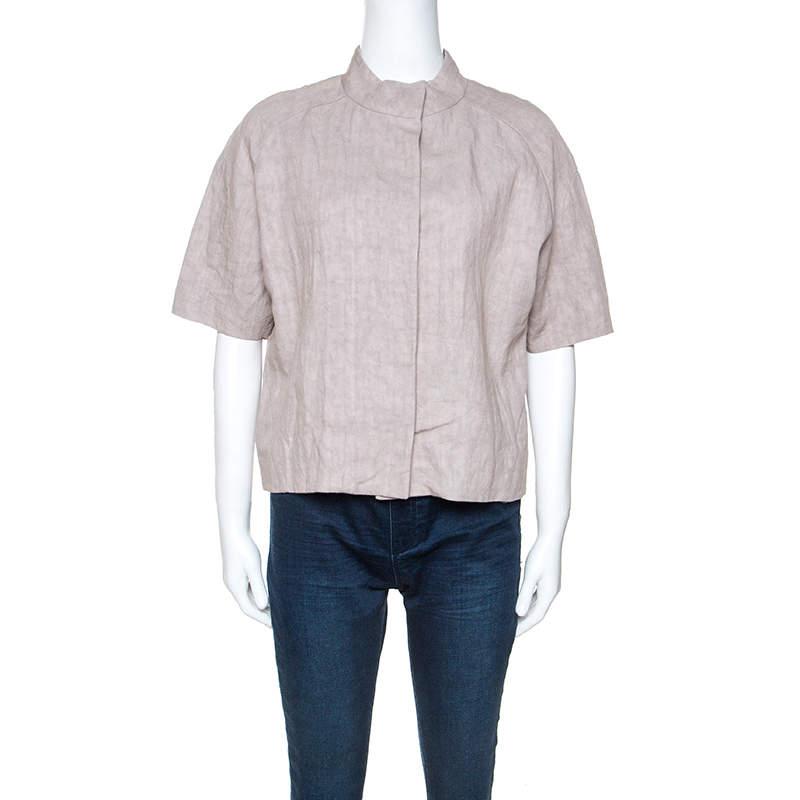 Marni Beige Linen Press Button Short Sleeve Top S