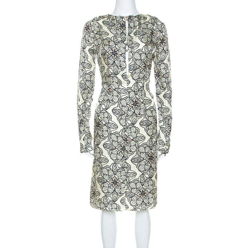 Marni Light Yellow Printed Silk Long Sleeve Dress M