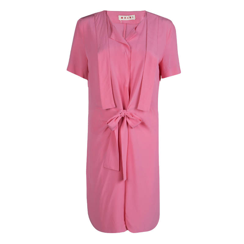 Marni Pink Silk Short Sleeve Waist Tie Detail Dress M