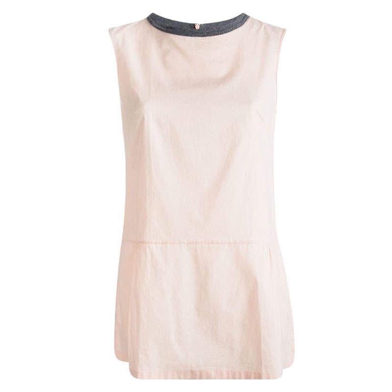 Marni Blush Pink Cotton Gathered Sleeveless Top M