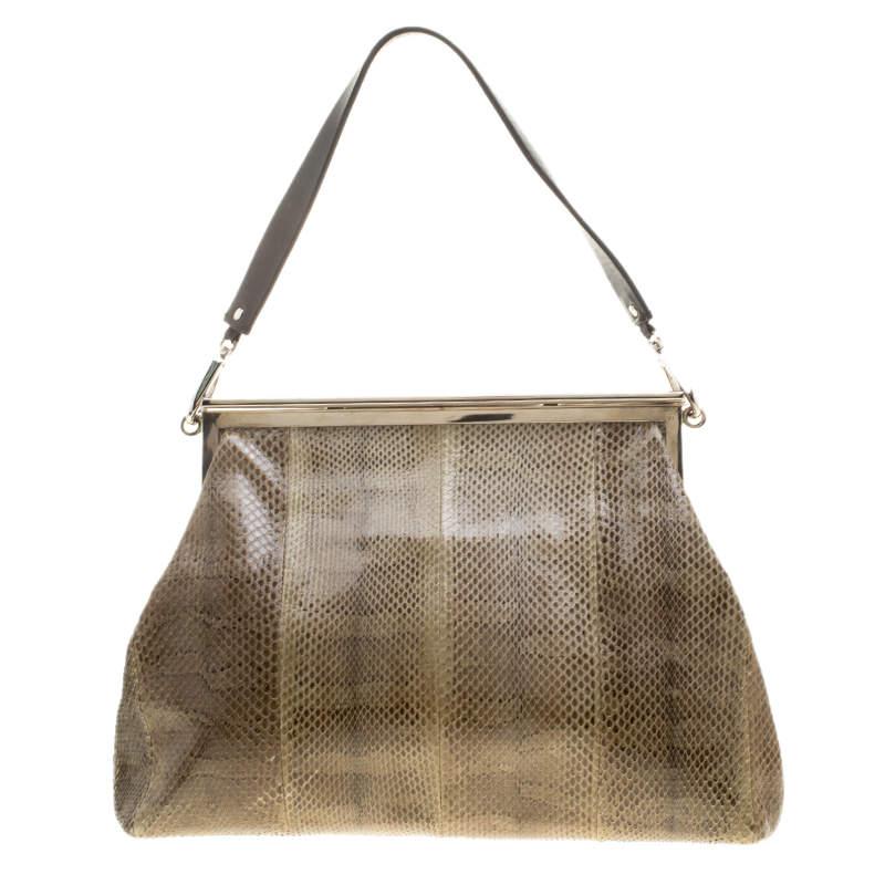Marni Dark Grey Python Frame Bag