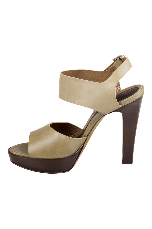 Marni Olive Green Leather Slingback Platform Sandals Size 38