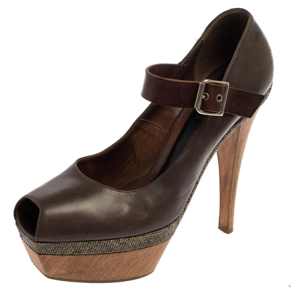 Marni Grey Leather Mary Jane Peep Toe Platform Pumps Size 39