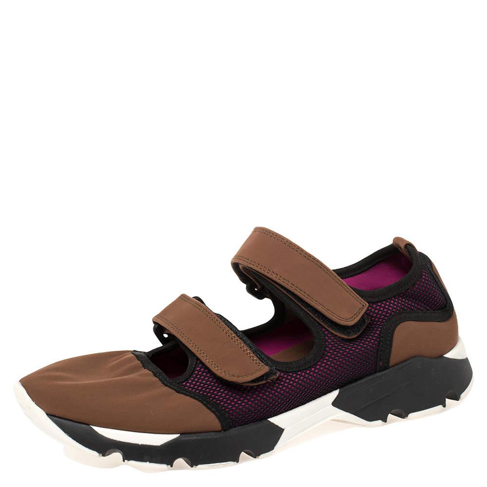 Marni Tricolor Fabric And Mesh Velcro Strap Sneaker Size 39
