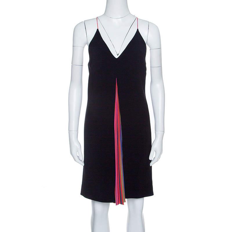 Mary Katrantzou Black Rainbow Pleated Panel Insert Sleeveless Swing Dress S