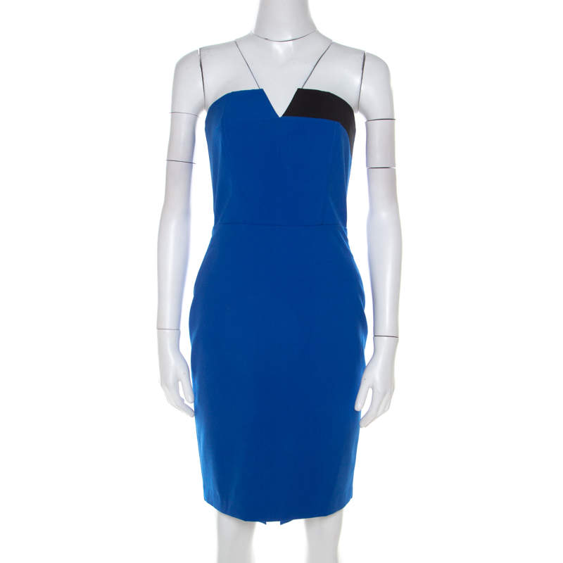 Mason Cobalt Blue Contrast Panel Detail Strapless Pencil Dress XS