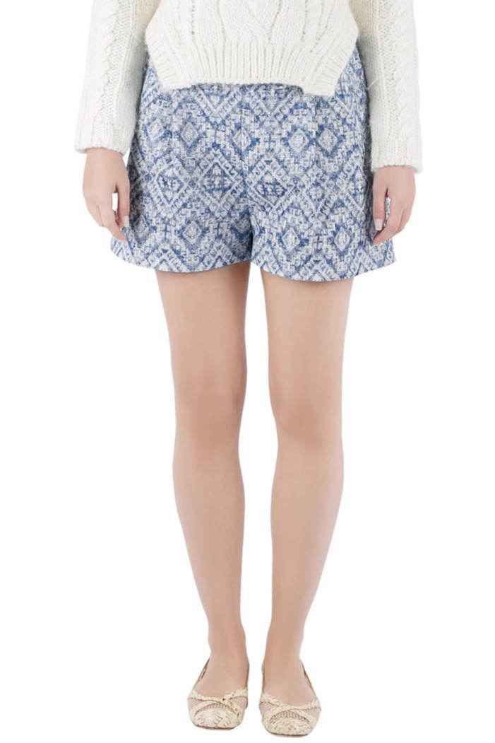 Matthew Williamson Indigo Ikat Pattern Jacquard High Waist Shorts M