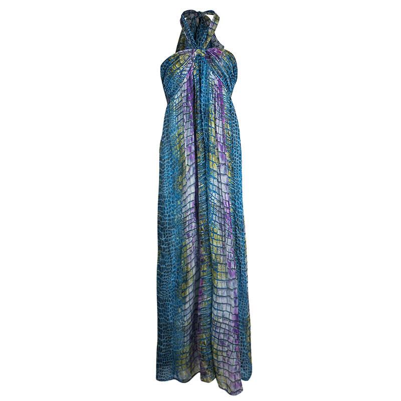 Matthew Williamson Escape Multicolor Printed Halter Neck Dress L