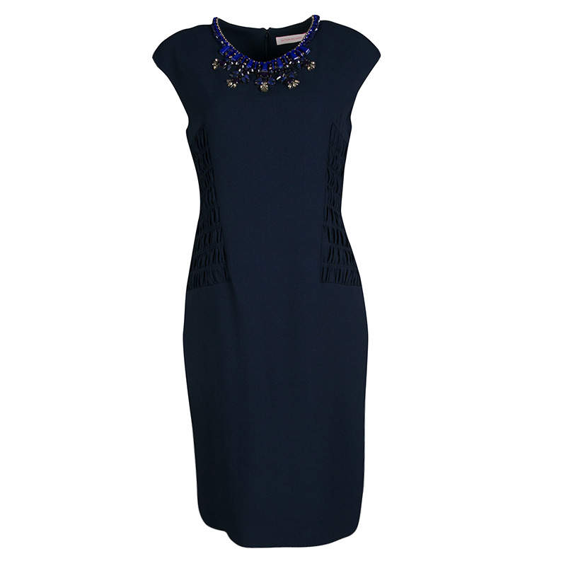 Matthew Williamson Navy Blue Smocked Waist Detail Embellished Neck Sleeveless Dress M