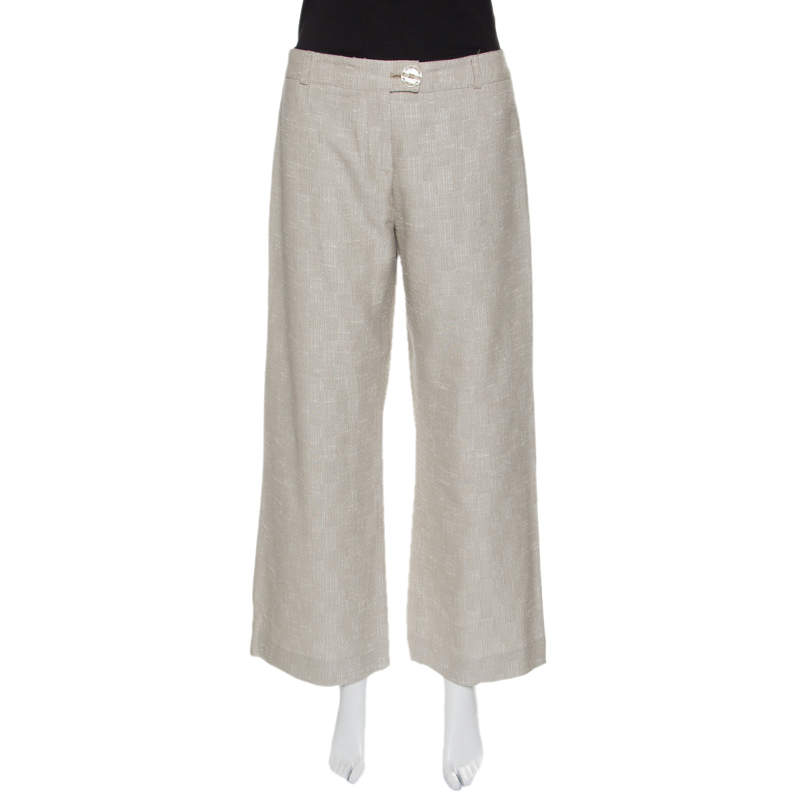 Matthew Williamson Beige Embellished Patch Detail Wide Leg Pants M