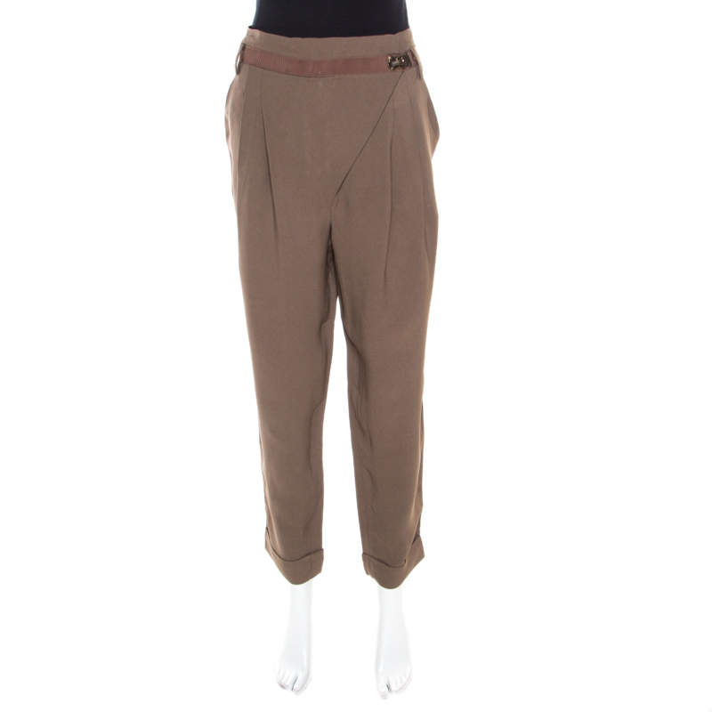 Matthew Williamson Mocha Brown Crepe Cuffed Trousers M