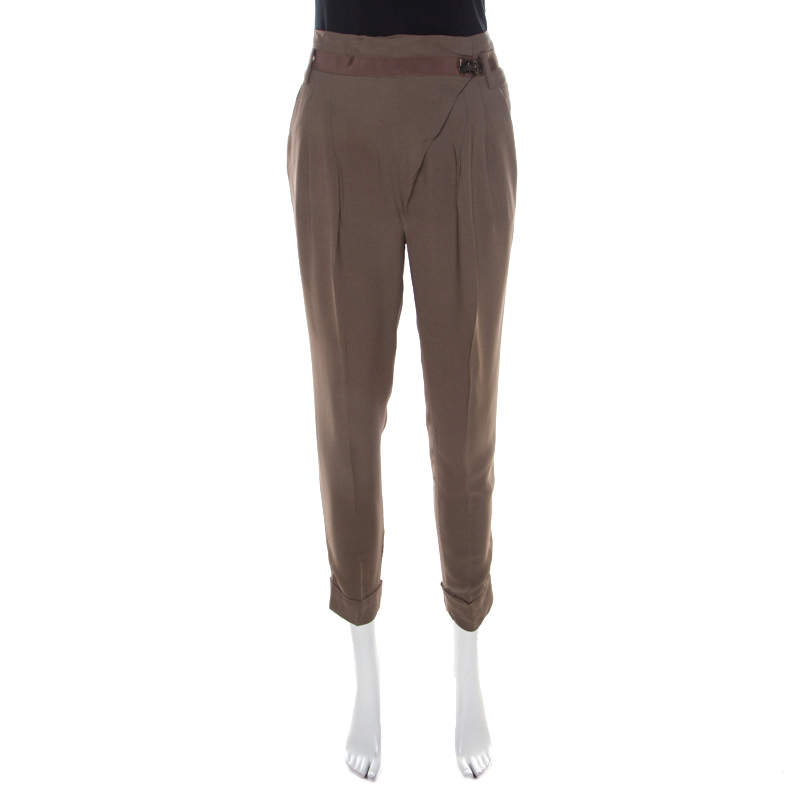 Matthew Williamson Mocha Brown Crepe Cuffed Trousers S