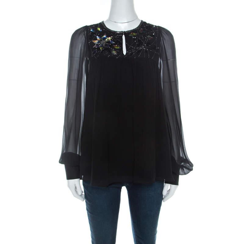 Matthew Williamson Black Silk Sequin Embellished Long Sleeve Top S