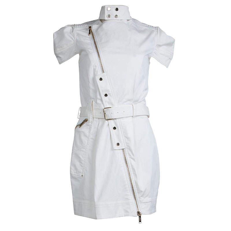 Mathew Williamson White Denim Overlap Zipper Belted Dress M