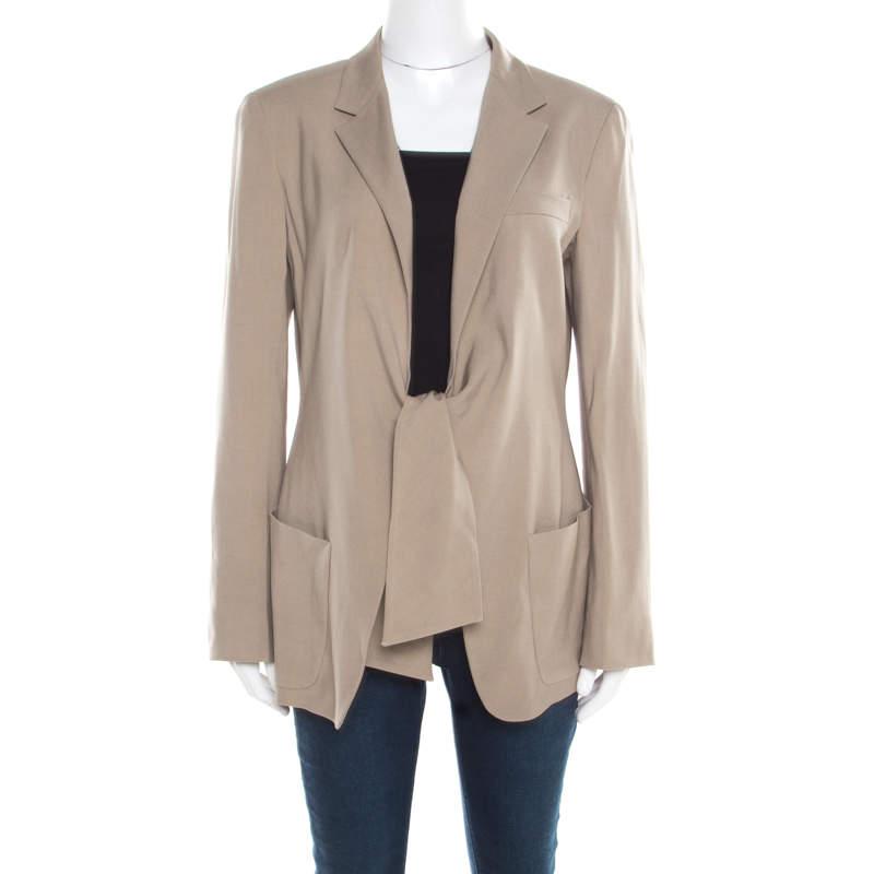 Max Mara Beige Wool and Silk Front Tie Detail Blazer L