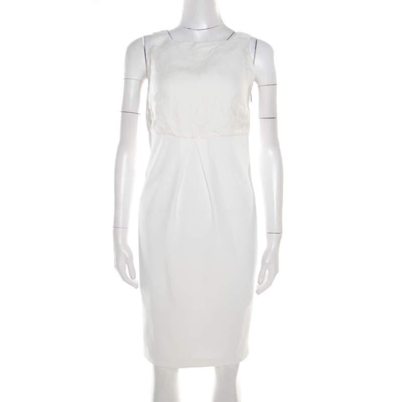 Max Mara Off White Linen Bodice Detail Sleeveless Midi Dress S