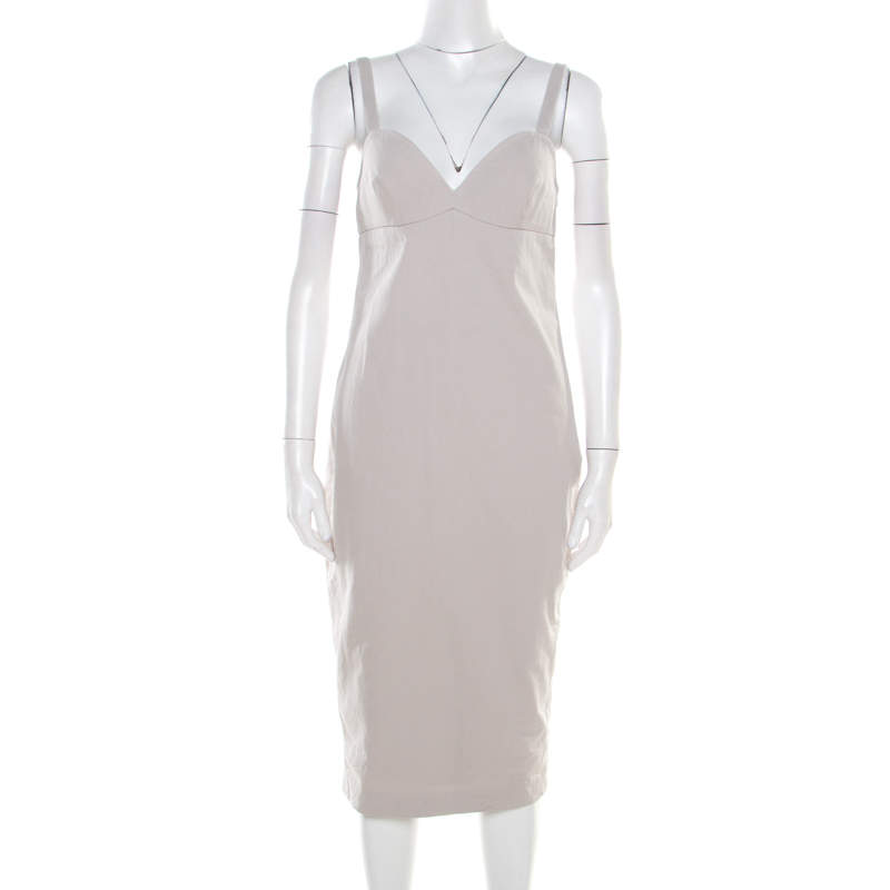 Max Mara Beige Cotton Twill Eyelet Back Detail Sleeveless Dress M