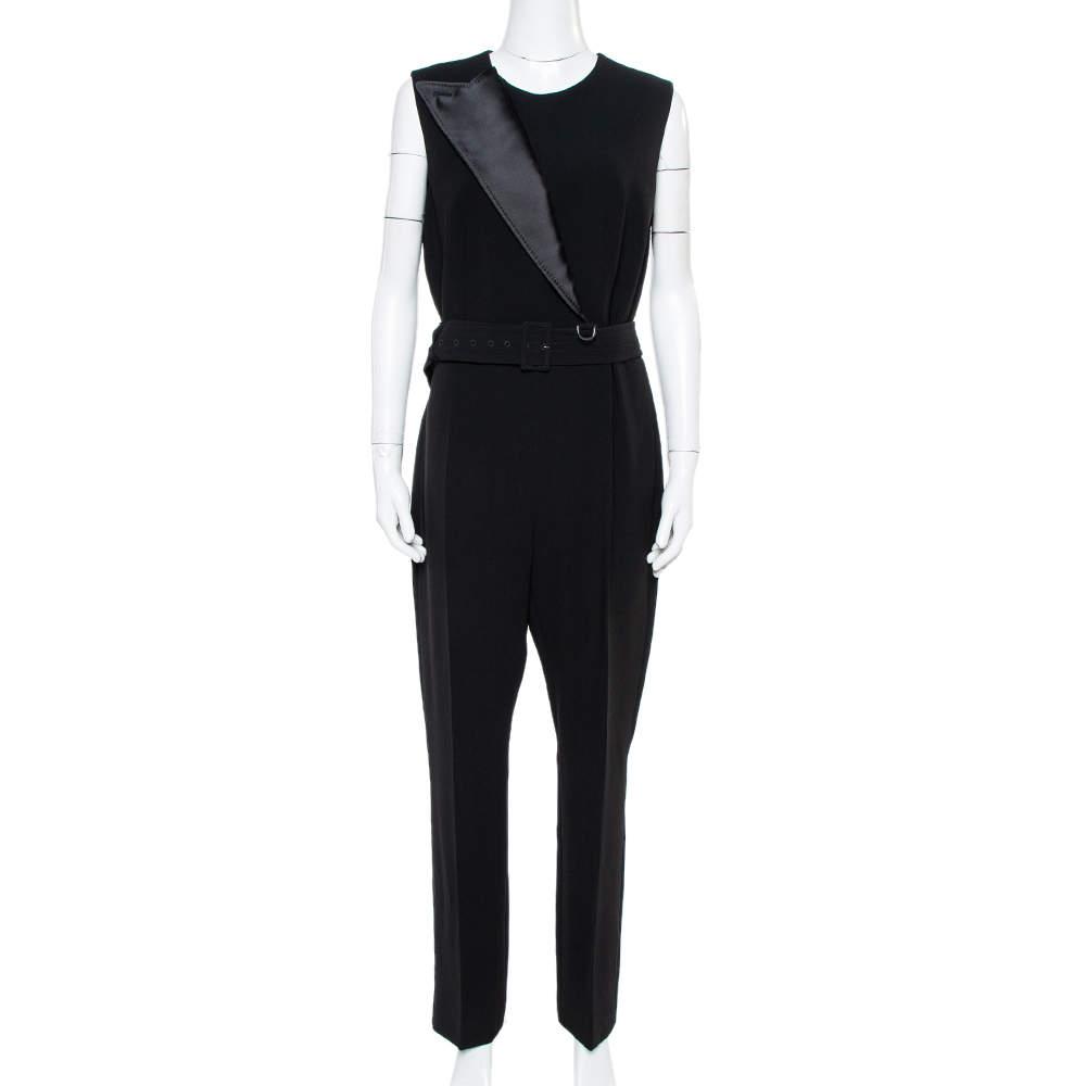 Max Mara Black Crepe Pilade Belted Jumpsuit L