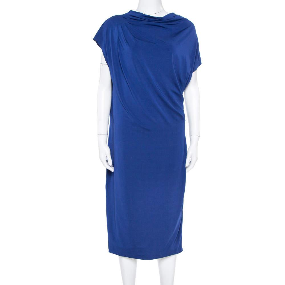 Max Mara Royal Blue Draped Jersey Asymmetric Midi Dress L