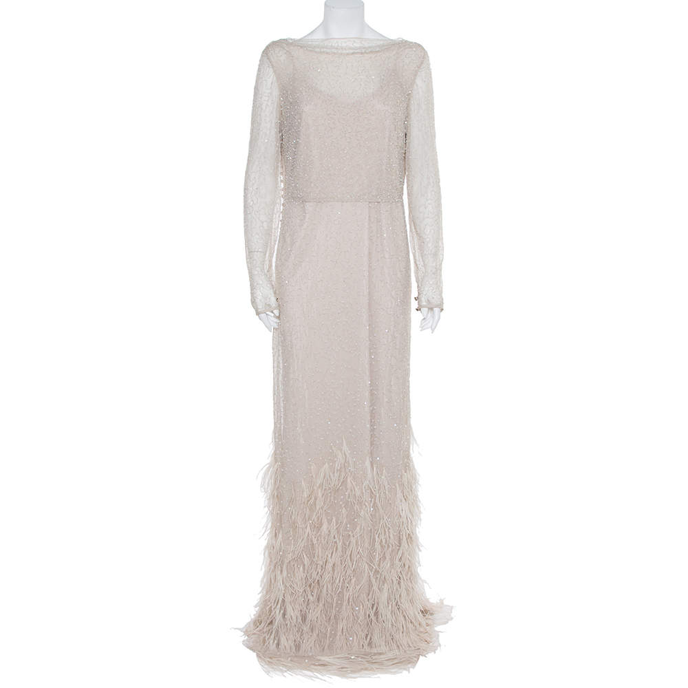 Max Mara Beige Tulle Sequin & Feather Embellished Gown M