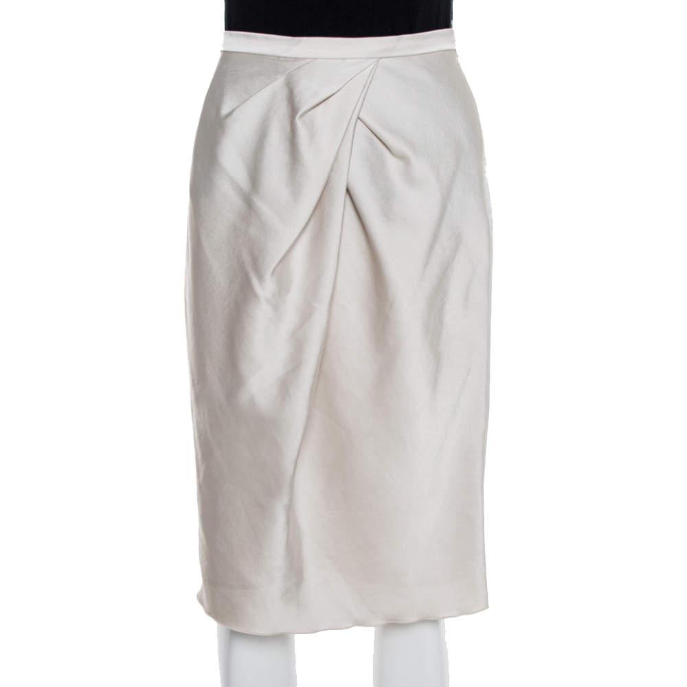 Max Mara Studio Cream Satin Pleated Detail Midi Skirt S