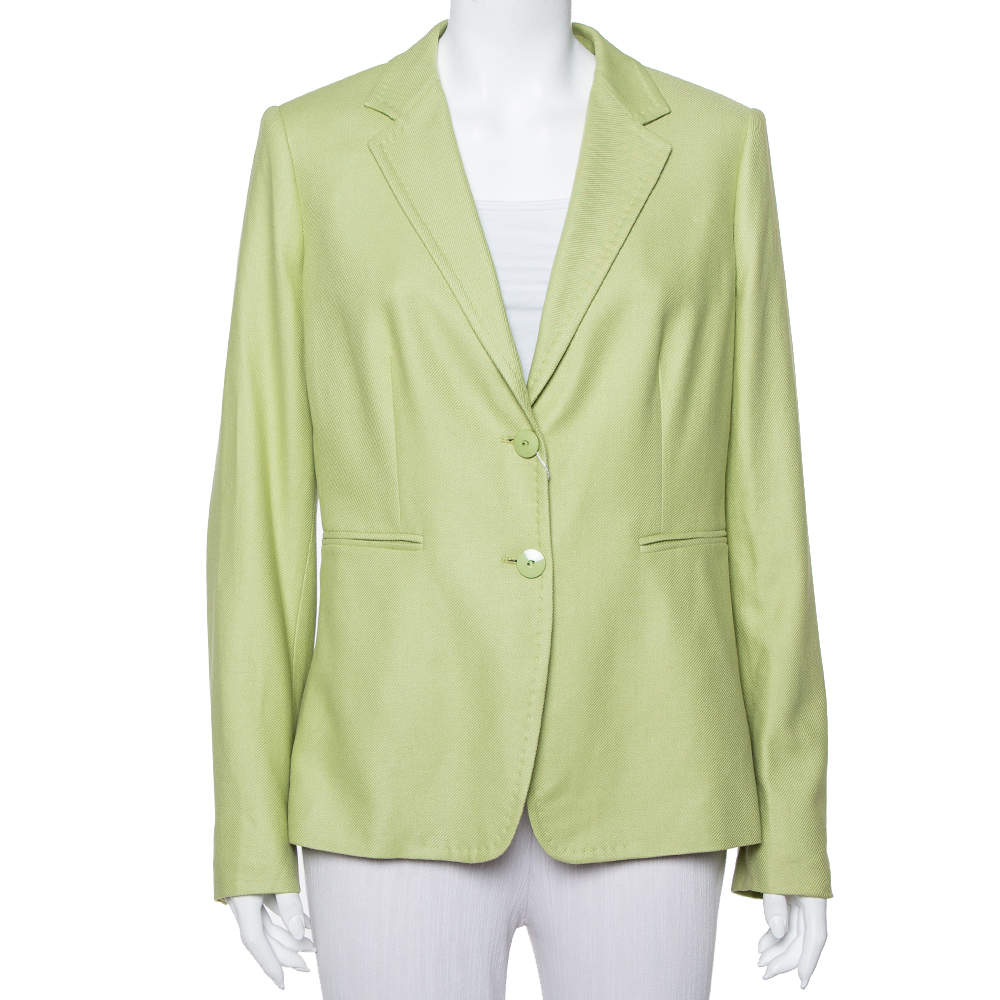 Max Mara Light Green Wool & Silk Button Front Blazer L